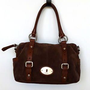 Fossil Suede Leather Handbag